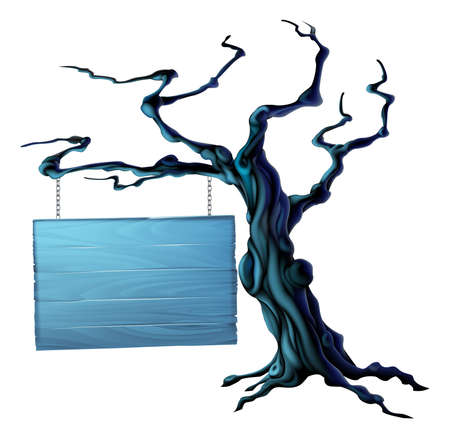 An illustration of a bare spooky scary Halloween tree with a suspended sign hanging from a chain on it Vector