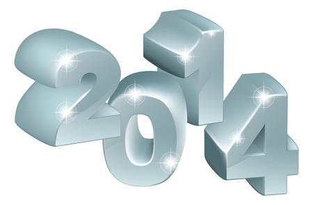 anything: Illustration of 3D Silver 2014 number ornaments, could be used for new year designs or anything relating to the year 2014 Illustration