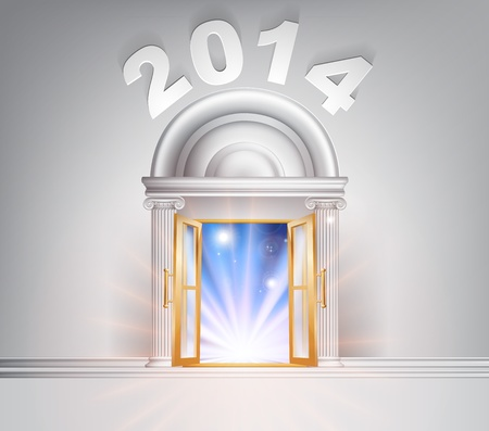 colum: New Year Door 2014 concept of a fantastic white marble door with columns with light streaming through it. Illustration