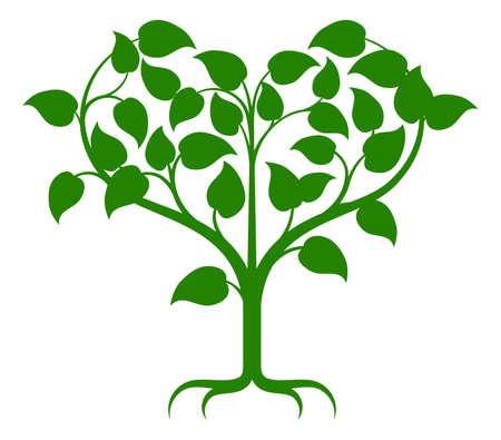 심장 모양으로 성장하는 지사와 함께 녹색 나무 그림입니다. 일러스트