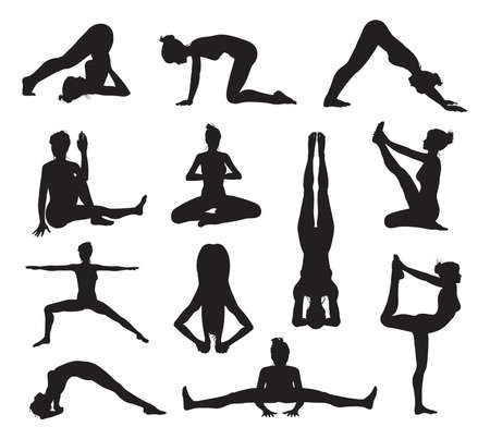 A set of highly detailed high quality yoga or pilates pose silhouettes Vector