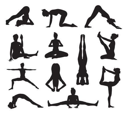 indian yoga: Un insieme di altamente dettagliate yoga di alta qualit� o pilates posa sagome Vettoriali