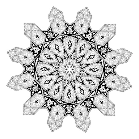 Black and white Arabic middle eastern floral pattern motif, based on Arabian ornament Vector