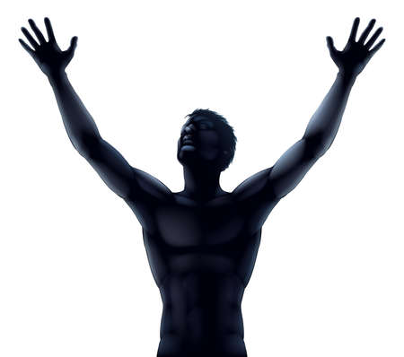 arms raised: An illustration of a man in silhouette hands and arms raised stretching up to the sky in praise or joy