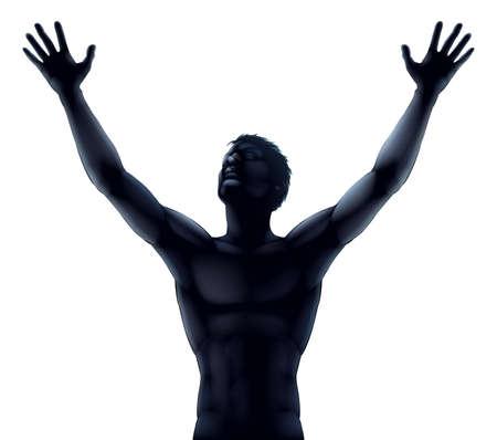 bras lev�: Une illustration d'un homme dans les mains et les bras silhouette sur�lev�e qui s'�tend vers le ciel dans la louange ou la joie