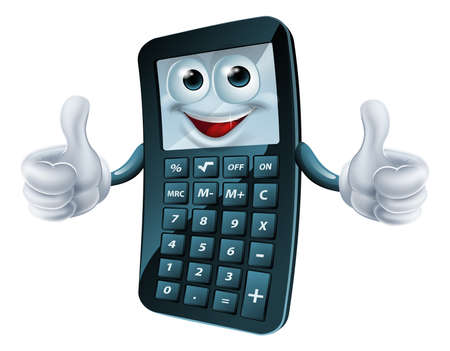 An illustration of a happy cartoon calculator man giving a thumbs up Vector
