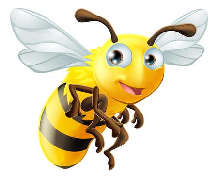 abeja caricatura: Una ilustración de una abeja linda de la historieta Vectores