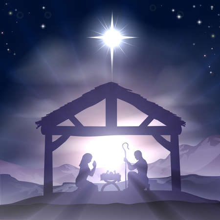 three wise men: Christmas Christian nativity scene with baby Jesus in the manger in silhouette, and star of Bethlehem