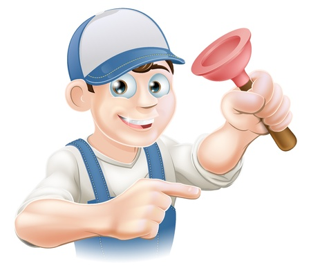 drain: Cartoon plumber or janitor holding a rubber plunger and pointing Illustration