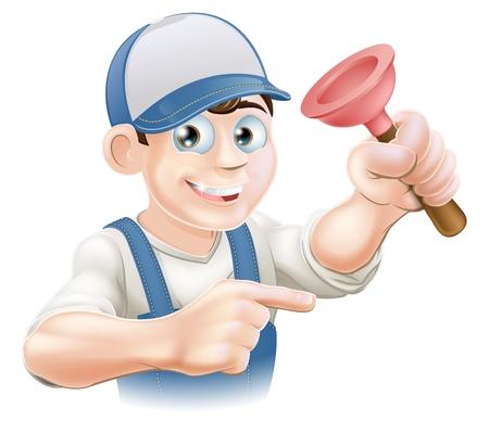 plumber with tools: Fontanero historieta o conserje de la celebraci�n de un �mbolo de goma y apuntando Vectores