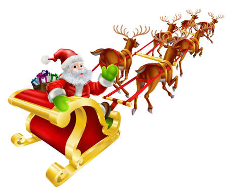 santas sleigh: Christmas illustration of Cartoon Santa Claus flying in his sled or sleigh and waving  Illustration