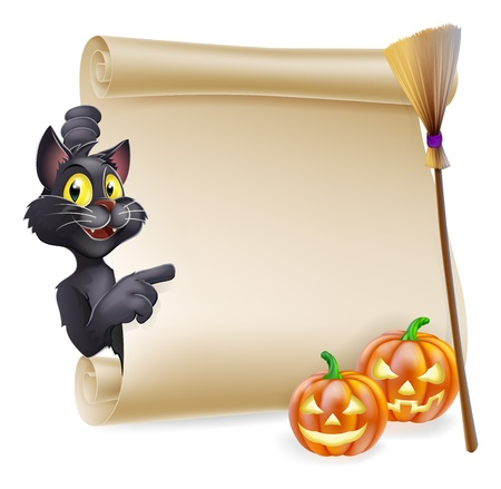 A Halloween scroll with black cat pointing at the scroll sign and carved Halloween pumpkins and witch's broom stick  Vector