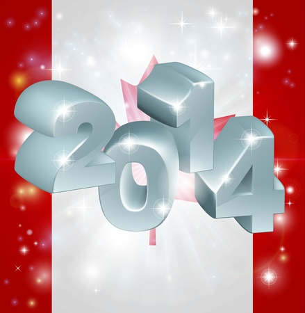 happy newyear: Flag of Canada 2014 background. New Year or similar concept Illustration