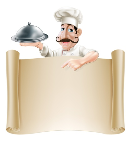 A friendly cartoon cook with a moustache holding a silver platter or cloche pointing at a banner or menu Vector
