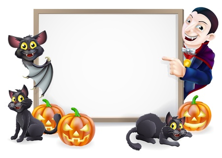 Halloween sign or banner with orange Halloween pumpkins and black witch's cats, witch's broom stick and cartoon Dracula and vampire bat characters  Vector