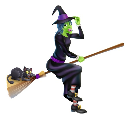 A friendly cartoon Halloween witch flying on her broom stick with her cute black cat Vector