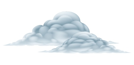 An illustration of a big fluffy pair of clouds Vector