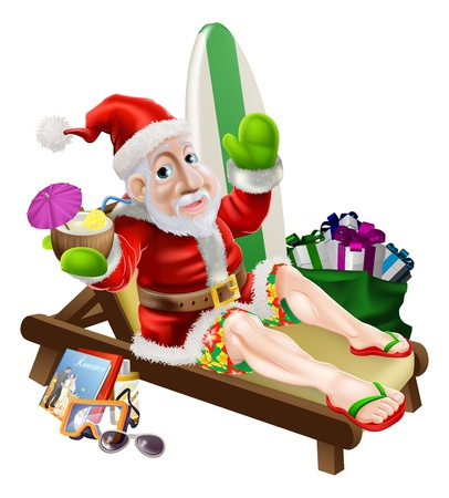 board shorts: Christmas Santa Claus with his vacation items, presents and surf board relaxing on the beach or by the pool wearing board shorts and flip flop sandals and enjoying a tropical cocktail drink. Illustration