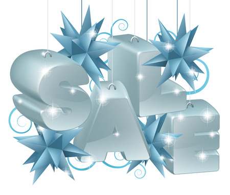 star shaped: Christmas or New Year Sale Ornaments spelling out the word sale with star shaped baubles and scroll swirl pattern