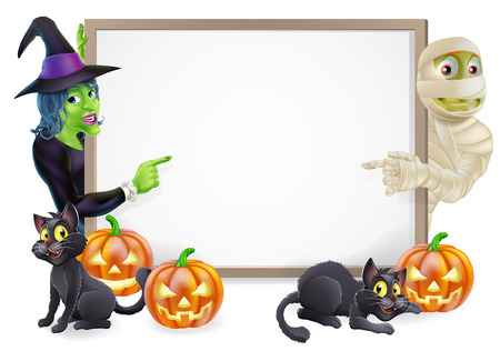 Halloween sign or banner with orange Halloween pumpkins and black witchs cats, witchs broom stick and cartoon witch and mummy characters  Vector