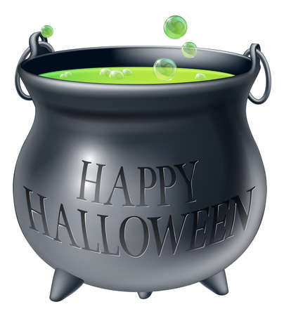 Cartoon Halloween witchs cauldron with green bubbling witchs brew in it and a message reading Happy Halloween Vector
