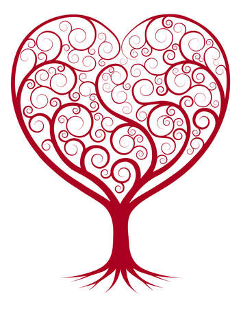 kalp: Kalp şekle büyüyen dalları ile soyut ağaç illüstrasyon.
