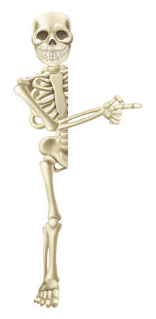 A cartoon skeleton character peeping round a Halloween banner or sign and pointing at its contents Vector