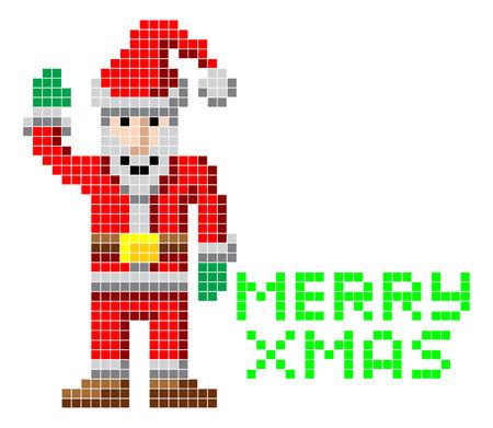 ho: Retro arcade video game style pixel art Christmas Santa with Merry Xmas message