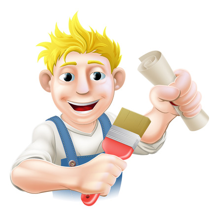 decorator: Painter decorator with certificate, qualification or other scroll and paintbrush. Education concept for being professionally qualified or certificated.
