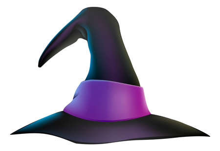 An illustration of a cartoon witchs hat with purple ribbon Illustration