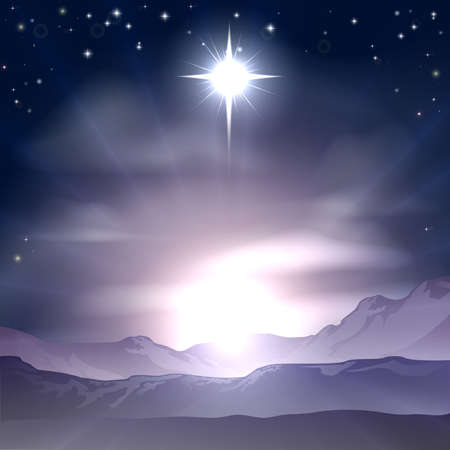 sky stars: A Christian Christmas illustration of the Star of Bethlehem that the wise men followed over the dessert landscape. A Christmas Nativity landscape concept