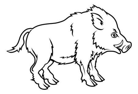 sanglier: Une illustration d'un sanglier stylis? peut-?tre un tatouage sanglier