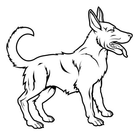 alsatian: An illustration of a stylised dog perhaps a dog tattoo