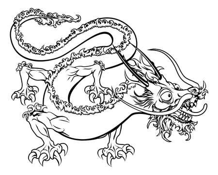 dragon chinois: Une illustration d'un dragon oriental chinois stylis? peut-?tre un tatouage de dragon