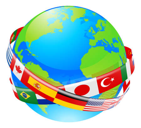 A conceptual illustration of a globe with the flags of lots of countries flying around it.  Illustration