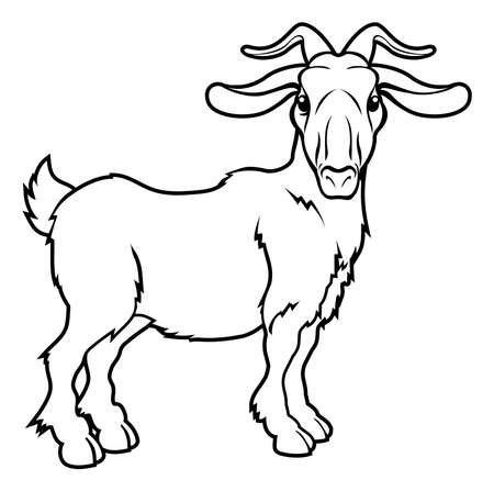 An illustration of a stylised goat or ram perhaps a goat tattoo Vector
