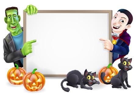 zucche halloween: Segno di Halloween o striscione arancione con zucche di Halloween e gatti di nero, strega, strega scopa bastone e cartoon mostro di Frankenstein e Dracula personaggi vampiro Vettoriali