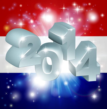 Flag of the Netherlands 2014 background. New Year or similar concept Vector