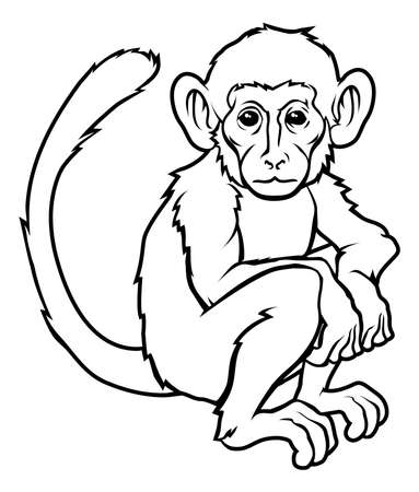 An illustration of a stylised monkey perhaps a monkey tattoo Vector
