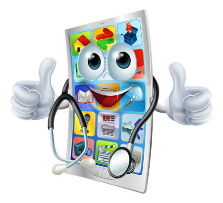 smartphone mano: Cartoon illustrazione di un telefono cellulare medico in possesso di uno stetoscopio