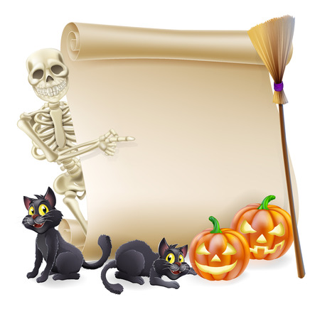 Halloween scroll or banner sign with orange carved Halloween pumpkins and black witch's cats, witch's broom stick and cartoon skeleton character Vector