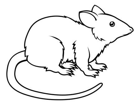 birth sign: An illustration of a stylised rat perhaps a rat tattoo Illustration