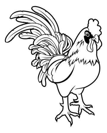 year of rooster: Una ilustraci?n de un gallo o gallo estilizado quiz?s un tatuaje gallo