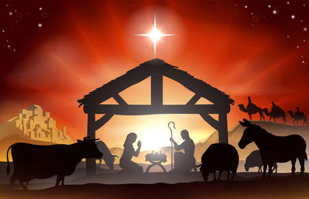 creche: Christmas Christian nativity scene with baby Jesus in the manger in silhouette, three wise men or kings, farm animals and star of Bethlehem