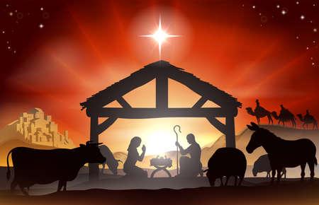 creche: Navidad escena de la natividad cristiana con el ni�o Jes�s en el pesebre en la silueta, tres hombres sabios o reyes, animales de granja y la estrella de Bel�n