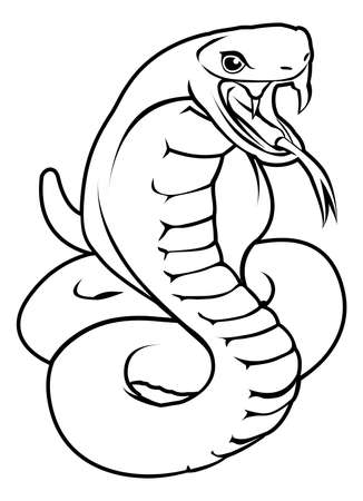 An illustration of a stylised snake or cobra perhaps a snake tattoo Vector