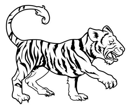 An illustration of a stylised tiger perhaps a tiger tattoo Vector