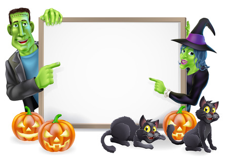 Halloween sign or banner with orange Halloween pumpkins and black witch's cats, witch's broom stick and cartoon Frankenstein monster and witch characters  Vector