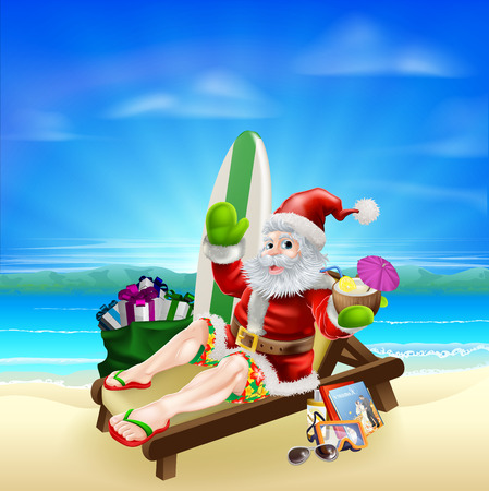 cartoon surfing: Santa Christmas illustration. Santa relaxing in on the beach with a surf board, bag of gifts and other holiday items and a tropical drink, wearing board shorts and flip flop sandals.