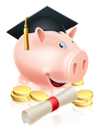 fee: Happy piggy bank cartoon with graduation cap and diploma scroll with gold coins. Saving for a career or education.